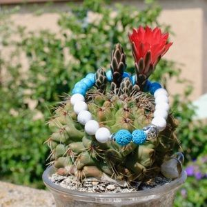 Jewelry - Howlite, turquoise Buddha aromatherapy bracelet